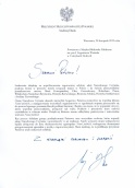 Podziękowanie od Prezydenta Andrzeja Dudy